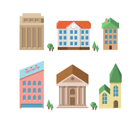 multistory: Set of buildings. Vector 3d houses. Home and architecture, icon building, real estate Illustration
