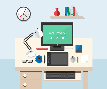 workspace: Flat style office workspace