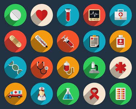 Health care and medicine icons in flat style Çizim