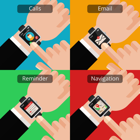 unread: Hands with smartwatch and unread message