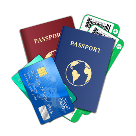passport background: Travel and tourism concept. Air tickets, passports, credit cards