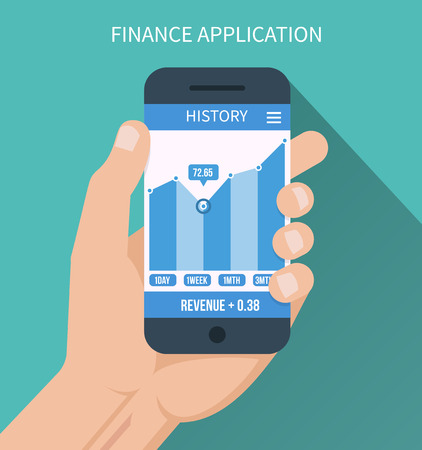 social history: Financial application. Smart phone with business graph in hand Illustration
