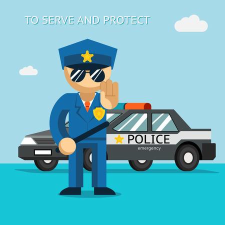gorra policía: Servir y proteger. El oficial de policía se pone delante de coche de policía