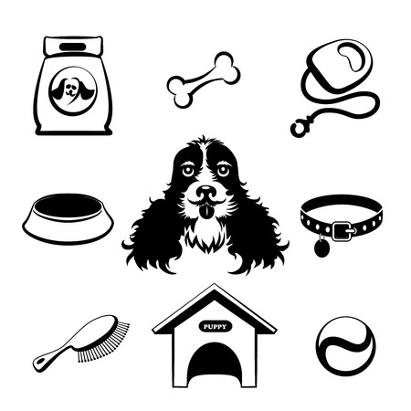 head collar: Dog icons set