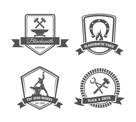 forge: Blacksmith labels Illustration