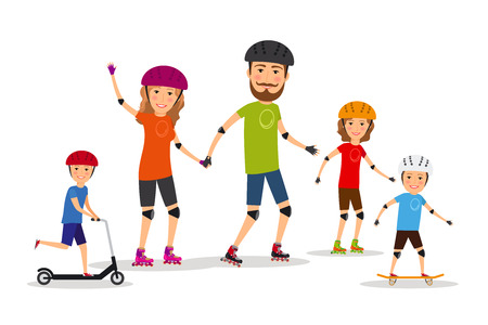 rollers: Sports family. Mom, dad and kids roller skate