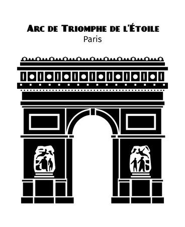 Arco di Trionfo a Parigi, vettore nero isolato silhouette