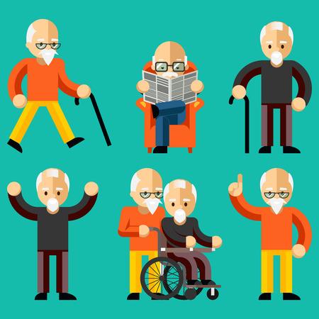 Ältere Menschen. Ältere Aktivitäten, Altenpflege, Komfort und Kommunikation im Alter Illustration