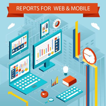 Business charts and reports on web pages, mobile apps. Flat isometric vector concept Vector