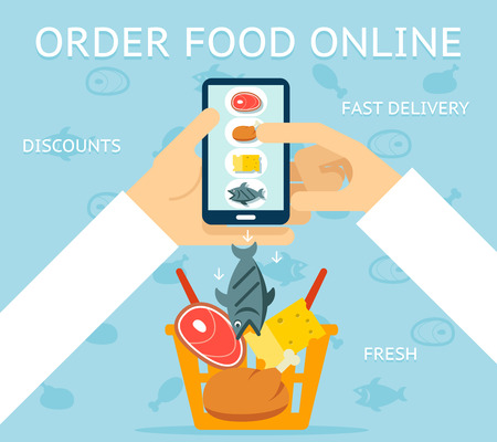 orden de compra: Pedir comida en línea Vectores