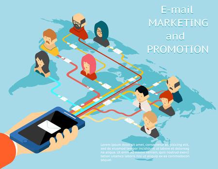 mundo manos: El email marketing y promoción de aplicaciones móviles 3D isométrico ilustración