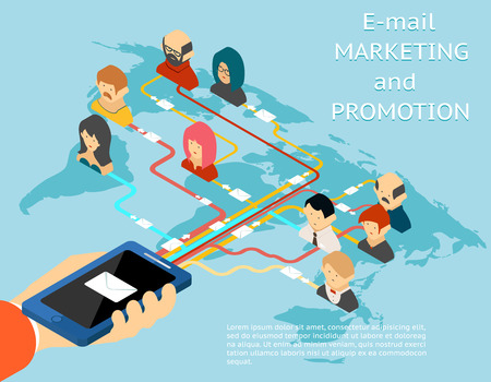 mobile communication: Email marketing and promotion mobile app isometric 3d illustration Illustration