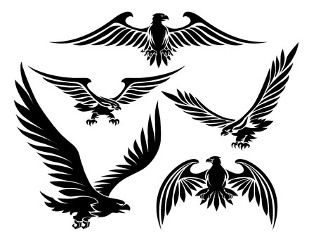 business flying: Heraldic eagle icons Illustration