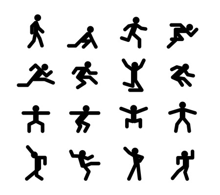 Human action poses. Running walking, jumping and squatting, dancing Vettoriali