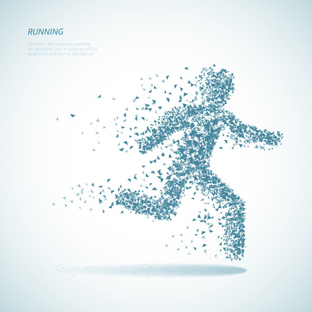 Running triangular man pictogram Illustration