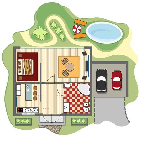 suelos: Plano de planta de la casa Vectores