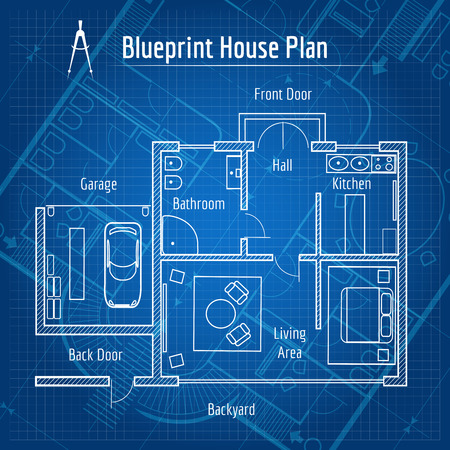 Blueprint house plan 矢量图像