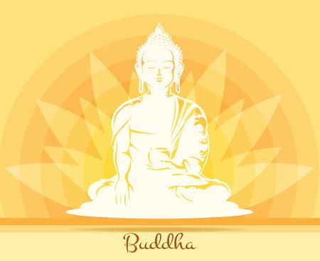 buddha lotus: Buddha with lotus flower Illustration