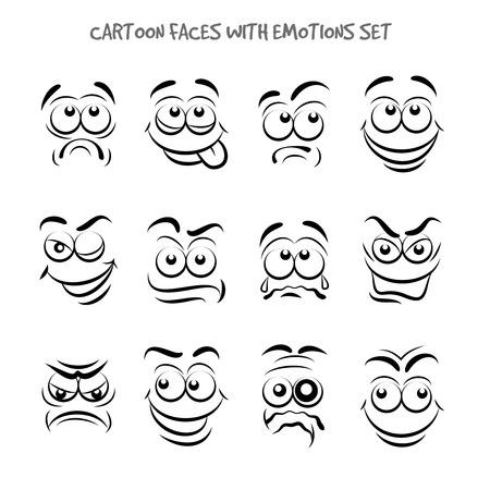 caras graciosas: Caras de la historieta con emociones establecidos