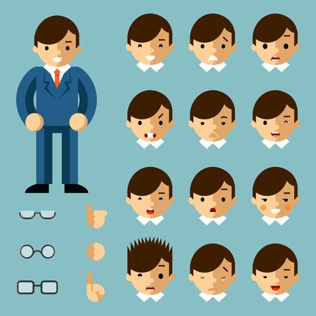 obrero caricatura: Emociones Empresario de dibujos animados
