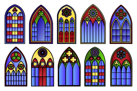 Vector stained glass windows set