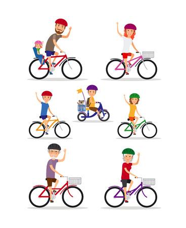 Familia Deportes. Mamá, papá y los niños andan en bicicleta Vectores