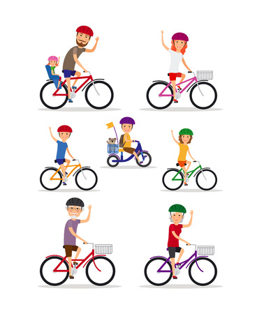 happy family outdoor: Sports family. Mom, Dad and kids ride bikes Illustration