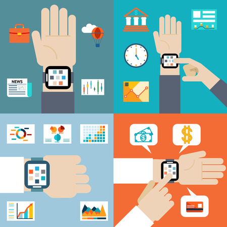 wireles: Payment and financial news via smart watch Illustration