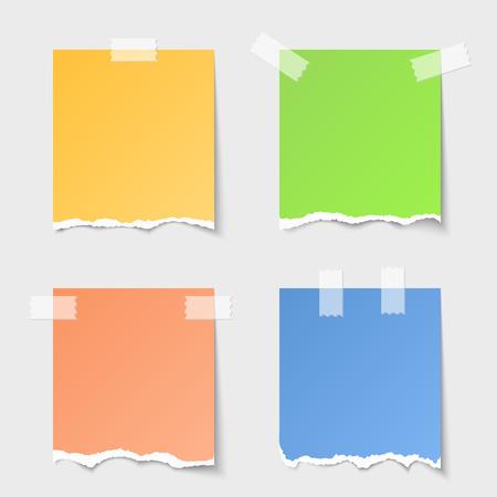 Vector torn paper notes Vectores