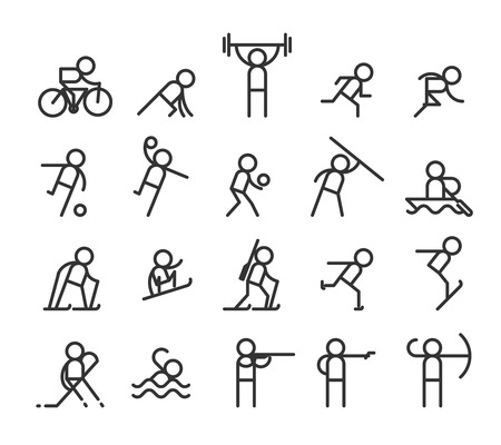archer cartoon: Sport line icons. Modern style