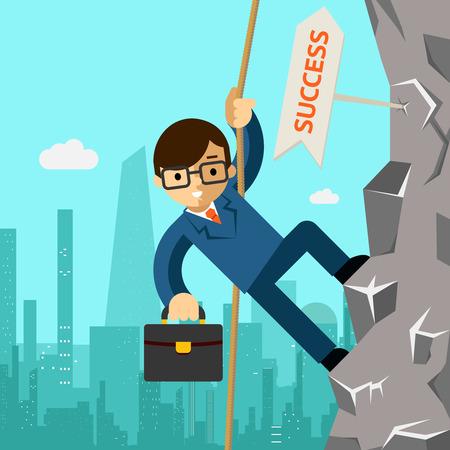Weg naar succes. Zakenman streeft naar leiderschap Stock Illustratie