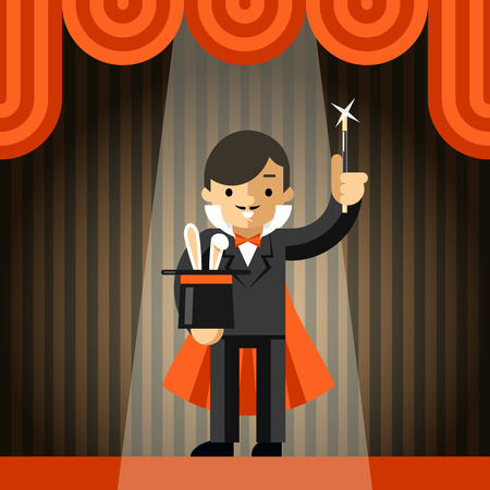 magician: Magician holding top hat with rabbit Illustration