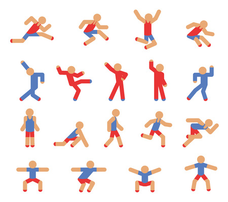 walking on hands: Man in running, jumping and dancing poses Illustration