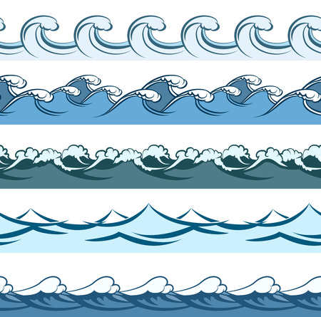 blue waves: Blue waves seamless vector line patterns