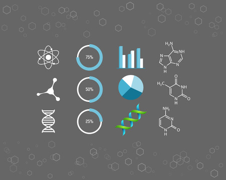 Science icons and chemical element formulas Illustration