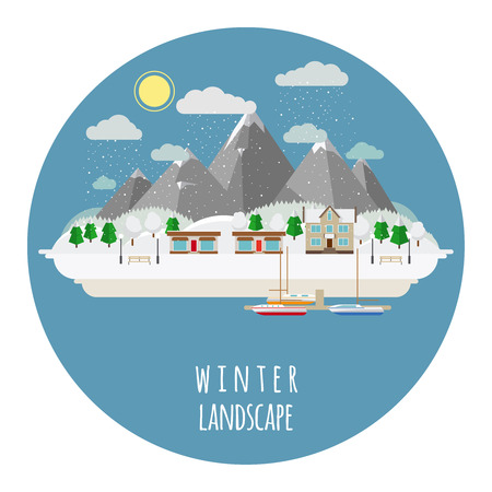 Flat winter landscape illustration with snow-covered town Vector