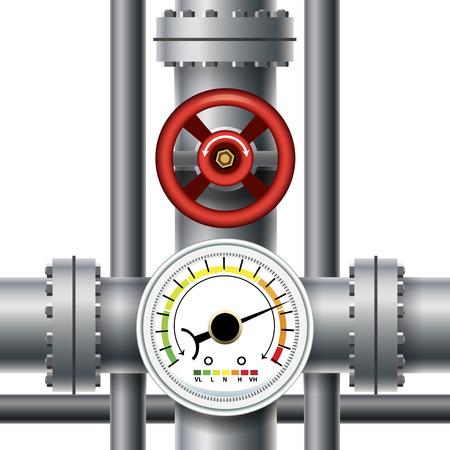 Gas pipe valve, pressure meter 向量圖像