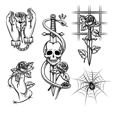 Criminal tattoo. Rose in hands of knife behind bars, spider and skull Illustration