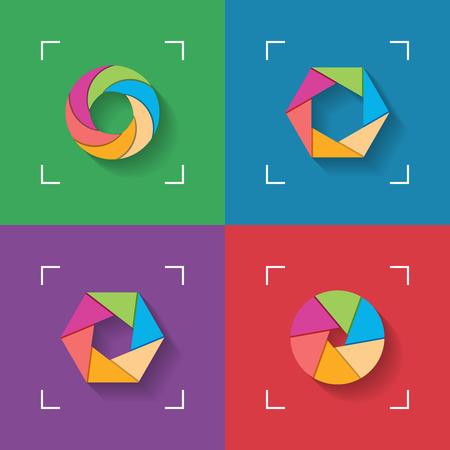 shutter: Shutter flat icons Illustration
