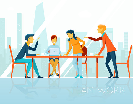 Business meeting. People talking and working in office Illustration
