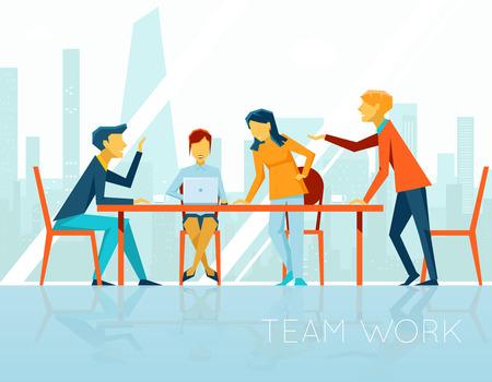 Zakelijke bijeenkomst. Mensen praten en werken in het kantoor Stock Illustratie