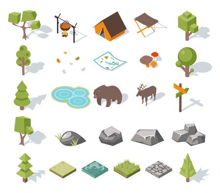 campamento: Elementos de camping bosque 3d isométricos para el diseño del paisaje