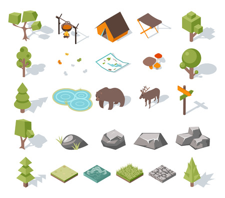 ponds: Isometric 3d forest camping elements for landscape design