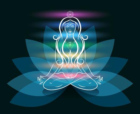La meditación del yoga silueta de la mujer de loto Ilustración de vector