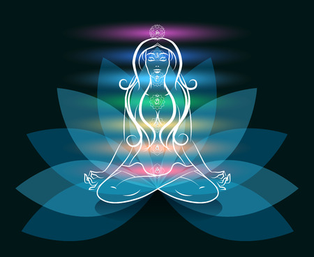 chakra energy: Yoga meditation woman lotus silhouette