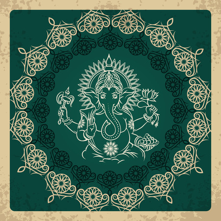 Indian god elephant Ganesha vintage card