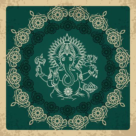 god bless: Indian god elephant Ganesha vintage card