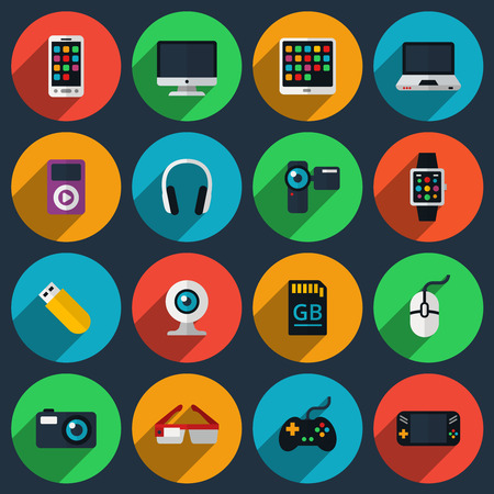 electronic device: Gadget flat icons