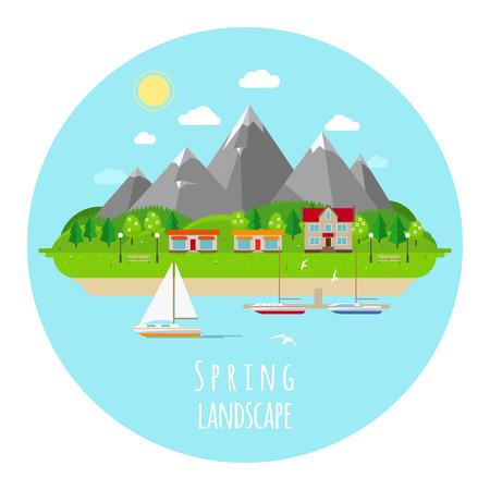 green hills: Flat spring landscape illustration with green hills Illustration