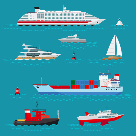 Sea ships flat icons Stock Illustratie